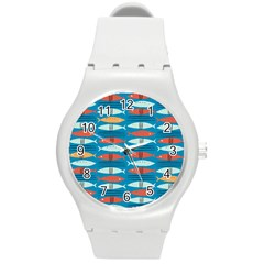 Go Fish  Fishing Animals Sea Water Beach Red Blue Orange Grey Round Plastic Sport Watch (m) by Jojostore
