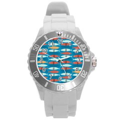 Go Fish  Fishing Animals Sea Water Beach Red Blue Orange Grey Round Plastic Sport Watch (l) by Jojostore