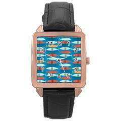 Go Fish  Fishing Animals Sea Water Beach Red Blue Orange Grey Rose Gold Leather Watch  by Jojostore
