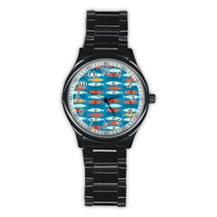 Go Fish  Fishing Animals Sea Water Beach Red Blue Orange Grey Stainless Steel Round Watch by Jojostore