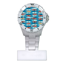 Go Fish  Fishing Animals Sea Water Beach Red Blue Orange Grey Plastic Nurses Watch by Jojostore