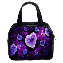 Hearts On Snake Pattern Purple Pink Love Classic Handbags (2 Sides)
