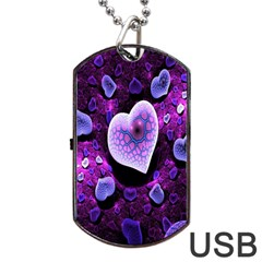 Hearts On Snake Pattern Purple Pink Love Dog Tag Usb Flash (one Side)