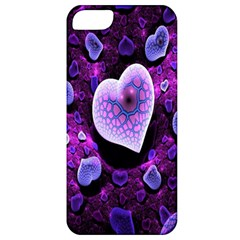 Hearts On Snake Pattern Purple Pink Love Apple Iphone 5 Classic Hardshell Case