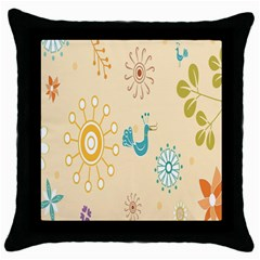 Kids Bird Sun Flower Floral Leaf Animals Color Rainbow Throw Pillow Case (black) by Jojostore