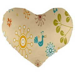 Kids Bird Sun Flower Floral Leaf Animals Color Rainbow Large 19  Premium Heart Shape Cushions by Jojostore