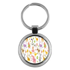 Kids Animal Giraffe Elephant Cows Horse Pigs Chicken Snake Cat Rabbits Duck Flower Floral Rainbow Key Chains (round)  by Jojostore