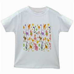 Kids Animal Giraffe Elephant Cows Horse Pigs Chicken Snake Cat Rabbits Duck Flower Floral Rainbow Kids White T Shirts