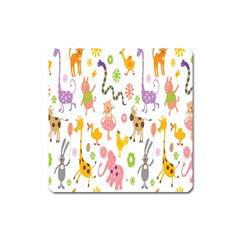 Kids Animal Giraffe Elephant Cows Horse Pigs Chicken Snake Cat Rabbits Duck Flower Floral Rainbow Square Magnet by Jojostore