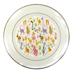 Kids Animal Giraffe Elephant Cows Horse Pigs Chicken Snake Cat Rabbits Duck Flower Floral Rainbow Porcelain Plates by Jojostore