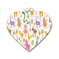 Kids Animal Giraffe Elephant Cows Horse Pigs Chicken Snake Cat Rabbits Duck Flower Floral Rainbow Dog Tag Heart (two Sides) by Jojostore