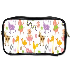 Kids Animal Giraffe Elephant Cows Horse Pigs Chicken Snake Cat Rabbits Duck Flower Floral Rainbow Toiletries Bags 2 Side by Jojostore