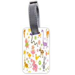 Kids Animal Giraffe Elephant Cows Horse Pigs Chicken Snake Cat Rabbits Duck Flower Floral Rainbow Luggage Tags (two Sides)