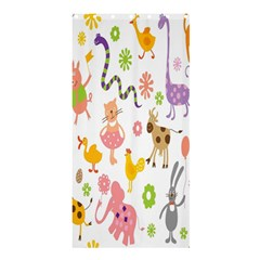 Kids Animal Giraffe Elephant Cows Horse Pigs Chicken Snake Cat Rabbits Duck Flower Floral Rainbow Shower Curtain 36  X 72  (stall)  by Jojostore