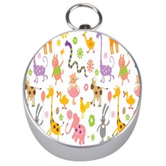 Kids Animal Giraffe Elephant Cows Horse Pigs Chicken Snake Cat Rabbits Duck Flower Floral Rainbow Silver Compasses by Jojostore