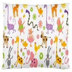 Kids Animal Giraffe Elephant Cows Horse Pigs Chicken Snake Cat Rabbits Duck Flower Floral Rainbow Standard Flano Cushion Case (two Sides) by Jojostore
