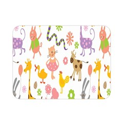 Kids Animal Giraffe Elephant Cows Horse Pigs Chicken Snake Cat Rabbits Duck Flower Floral Rainbow Double Sided Flano Blanket (mini)  by Jojostore