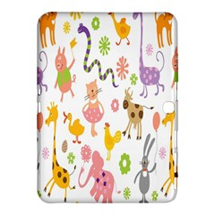 Kids Animal Giraffe Elephant Cows Horse Pigs Chicken Snake Cat Rabbits Duck Flower Floral Rainbow Samsung Galaxy Tab 4 (10 1 ) Hardshell Case  by Jojostore