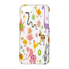 Kids Animal Giraffe Elephant Cows Horse Pigs Chicken Snake Cat Rabbits Duck Flower Floral Rainbow Apple Iphone 7 Hardshell Case by Jojostore