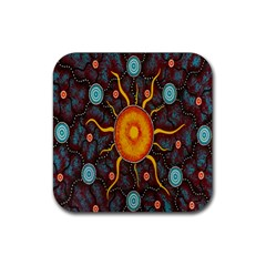 Great Sun Fabric Woven Batik Rubber Square Coaster (4 Pack)  by Jojostore