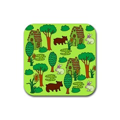 Kids House Rabbit Cow Tree Flower Green Rubber Square Coaster (4 Pack)  by Jojostore