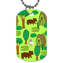 Kids House Rabbit Cow Tree Flower Green Dog Tag (one Side) by Jojostore