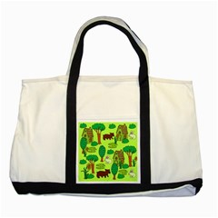 Kids House Rabbit Cow Tree Flower Green Two Tone Tote Bag by Jojostore