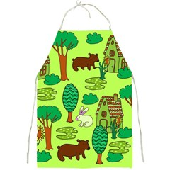 Kids House Rabbit Cow Tree Flower Green Full Print Aprons by Jojostore