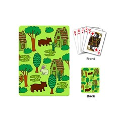 Kids House Rabbit Cow Tree Flower Green Playing Cards (mini)