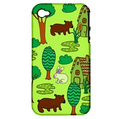 Kids House Rabbit Cow Tree Flower Green Apple Iphone 4/4s Hardshell Case (pc+silicone)