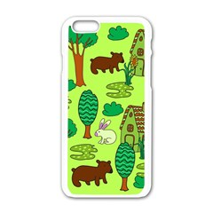 Kids House Rabbit Cow Tree Flower Green Apple Iphone 6/6s White Enamel Case by Jojostore