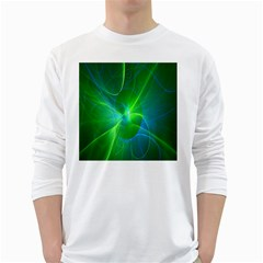 Line Green Light White Long Sleeve T Shirts