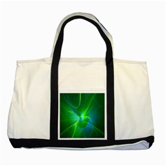 Line Green Light Two Tone Tote Bag