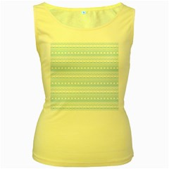 Love Heart Valentine Blue Star Woven Wave Fabric Chevron Women s Yellow Tank Top