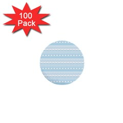 Love Heart Valentine Blue Star Woven Wave Fabric Chevron 1  Mini Buttons (100 Pack)  by Jojostore