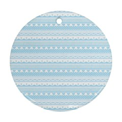 Love Heart Valentine Blue Star Woven Wave Fabric Chevron Round Ornament (two Sides) by Jojostore