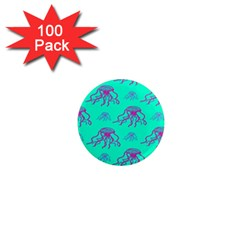 Jellyfish Pink Green Blue Tentacel 1  Mini Magnets (100 Pack)  by Jojostore