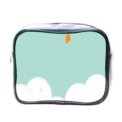 Minimalis Kite Clouds Orange Blue Sky Mini Toiletries Bags