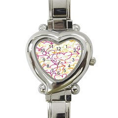 Love Heart Valentine Rainbow Color Purple Pink Yellow Green Heart Italian Charm Watch
