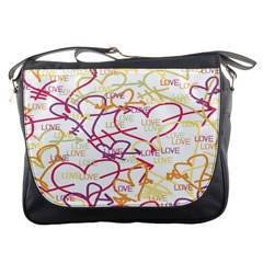 Love Heart Valentine Rainbow Color Purple Pink Yellow Green Messenger Bags by Jojostore