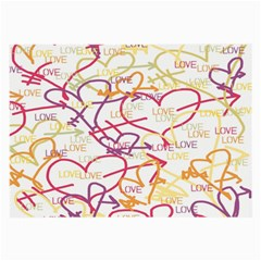 Love Heart Valentine Rainbow Color Purple Pink Yellow Green Large Glasses Cloth (2 Side)