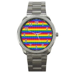 Love Valentine Rainbow Red Purple Blue Green Yellow Orange Sport Metal Watch by Jojostore