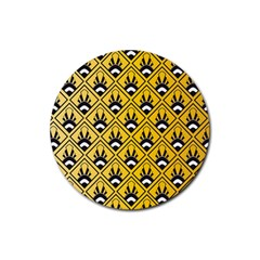 Original Honey Bee Yellow Triangle Rubber Round Coaster (4 Pack)  by Jojostore