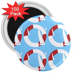 Sail Summer Buoy Boath Sea Water 3  Magnets (100 Pack) by Jojostore