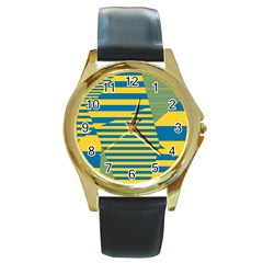 Prime Line Round Gold Metal Watch