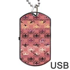 Overlays Pink Flower Floral Dog Tag Usb Flash (two Sides)