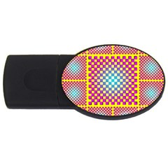Rotational Plaid Purple Blue Yellow Usb Flash Drive Oval (2 Gb)