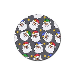 Santa Claus Face Mask Crismast Rubber Round Coaster (4 Pack)  by Jojostore