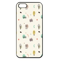 Slippers Lamp Glasses Ice Cream Grey Wave Water Apple Iphone 5 Seamless Case (black)