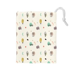 Slippers Lamp Glasses Ice Cream Grey Wave Water Drawstring Pouches (large)
